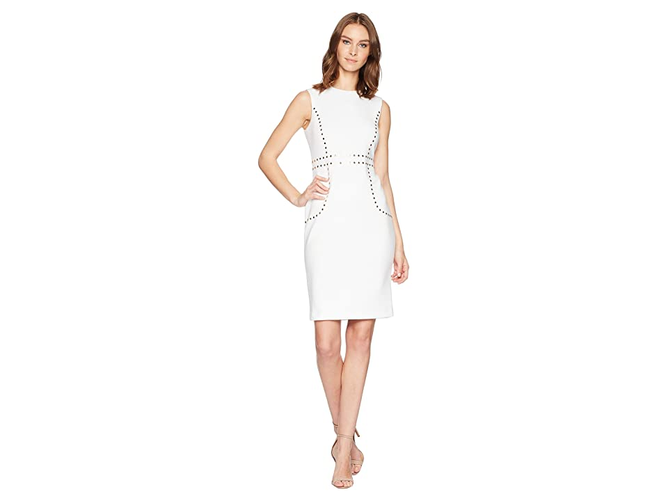 Calvin Klein Embellishment Detail Sheath Dress CD8M15LK (White) Women