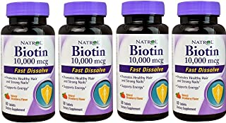 Biotin 10,000mcg Fast Dissolve, 60 Count (Pack of 4)