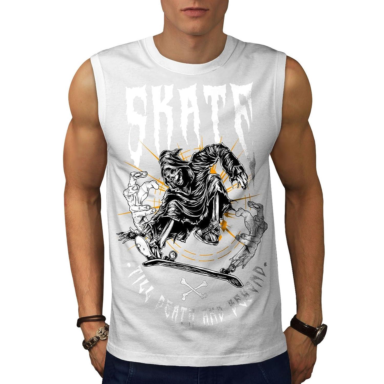 Wellcoda スケート 厳しいです 死神 ホラー 男性用 S-5XL 袖なしTシャツ