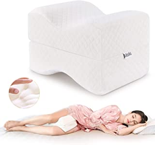 Misiki Knee Pillow Leg Pillow for Side Sleepers 100% Memory Foam Orthopedic Spacer Cushion for Spine Alignment, Sciatica, Back and Hip Joint Pain Relief, Pregnancy and Surgery Support