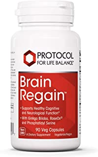 Protocol For Life Balance - Brain Regain - Supports Healthy Cognitive and Neurological Function with Ginkgo Biloba, RoseOx...
