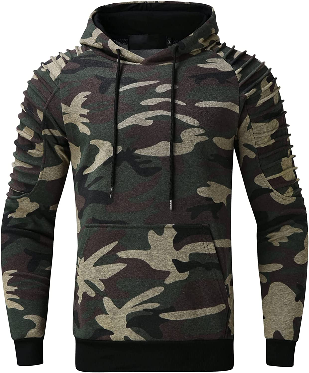 XXBR Camo Hooded Sweatshirts for Mens, Pleated Shoulder Camouflage Drawstring Pullover Workout Sports Fitness Hoodies