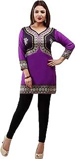 Indian Tunic Top Womens Blouse India Clothing Purple Printed Crepe Kurti