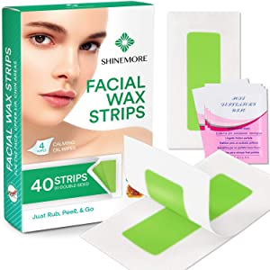 Wax Strips, Wax Hair Removal For Women, Body Wax Strips, Rose scent Wax Strips, At Home Waxing Kit with 40 Wax Strips + 4 Calming Oil Wipes (facial)
