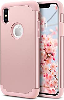 ULAK iPhone X Case, iPhone Xs Case Silicone, Slim fit Dual-Layer Soft Rubber Bumper & Hard PC Back Shockproof Anti-Scratch Hybrid Protective Phone Case Cover for iPhone X/Xs 5.8 inch, Rose Gold