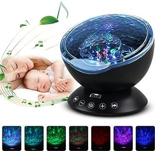 Gobesty Lámpara Proyector LED, Proyector de Luz Estelar LED, Lámpara de Proyector LED Luz Océano con Música, Control Remoto, 7 Modos de Iluminación para Decoración de Fiestas y Habitaciones