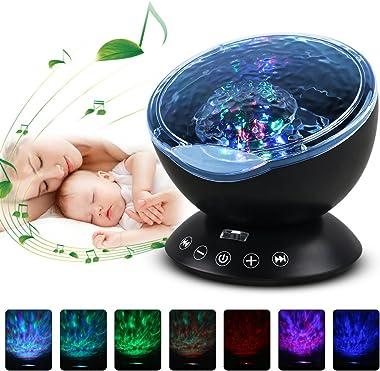 Gobesty LED Lumière détoile Projecteur, Veilleuse Projecteur Vagues Océan, Lampe Projecteur LED Etoile avec Musique, Télécomm