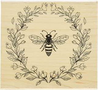 Hero Arts Antique Bee and Flowers Red Rubber Wood Stamp, Bee & Flowers