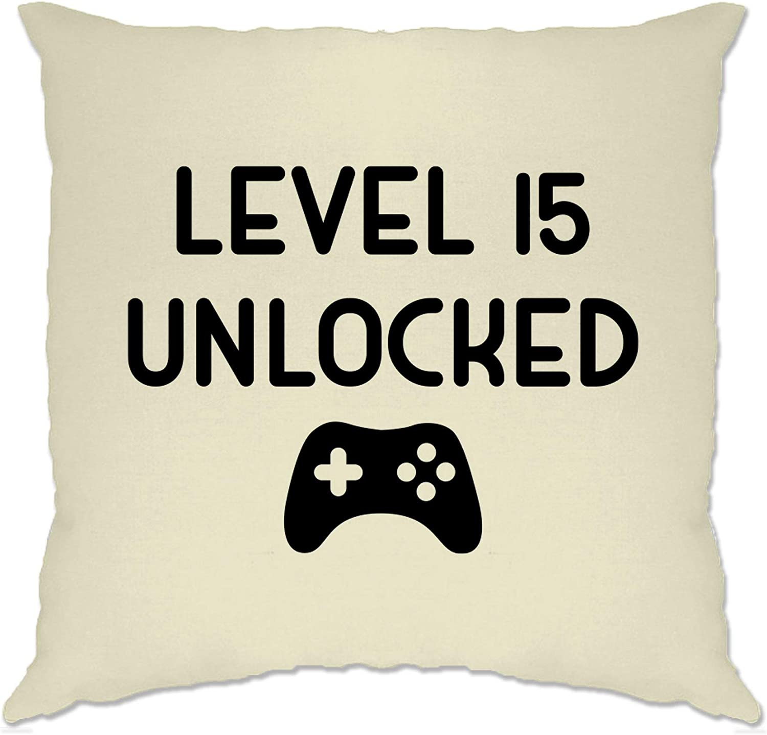 White//One Size Tim And Ted 15th Birthday Gamer Cushion Cover Level 15 Unlocked Slogan Console Controller PC