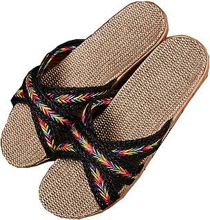 Slippers - Cross Linen Design Summer Indoor Non-slip Lightweight Outdoor Beach Sandals