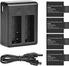 D&F Dual Battery Charger with 4 Pack Replacement Battery 3.7V 900mAh Li-ion Compatible with SJCAM SJ4000 SJ5000 SJ6000 M10 Action Camera