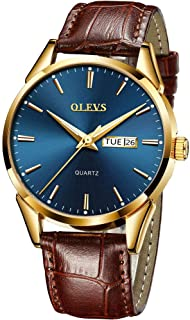Amazon Watches,Brown Leather Watch for Men,Men Day Date Watch,Men's Luminous Watch,Dress Watch for Men,Rose Gold Watch for Men,Men's Fashion Quartz Watch,Men Watch on Clearance