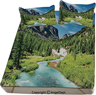 Homenon Altai Pine Forest,Summer Cooling Mat 3D Printing Foldable Folding Summer Ice Silk Cover Cool Mat with Pillowcase(Queen) Rainforest River Rocky Mountains Snenery Siberia Whitewater Decorative