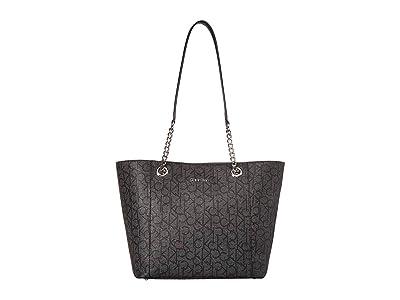 Calvin Klein Monogram East/West Tote (Asphalt) Tote Handbags