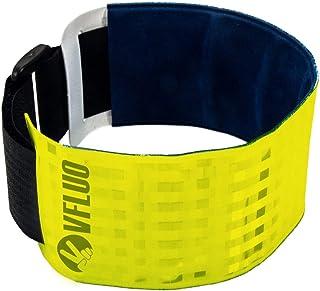 VFLUO ARMTECH™, Retro reflektierende, verstellbare und elastische Armbind, für Motorrad, Motorroller, Fahrrad, Fußgänger, Leuchtgelb