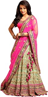 0edceb68c9 Drashti villa Women's Embroidered multi colour Semi Stitched lehengas, lehenga  choli with Dupatta (Free