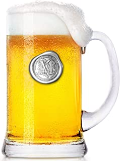 English Pewter Company 1 Pint Monogram Initial Beer Mug Glass Tankard - Unique Gifts For Men - Personalized Gift With Your Choice Of Initial (M) [MON013]