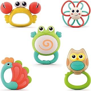 مجموعة ألعاب خشخشة الأطفال، خشخيشات عضاضة للأطفال، ألعاب تعليمية مبكرة مع صندوق تخزين، مجموعة هدايا للأطفال حديثي الولادة ...