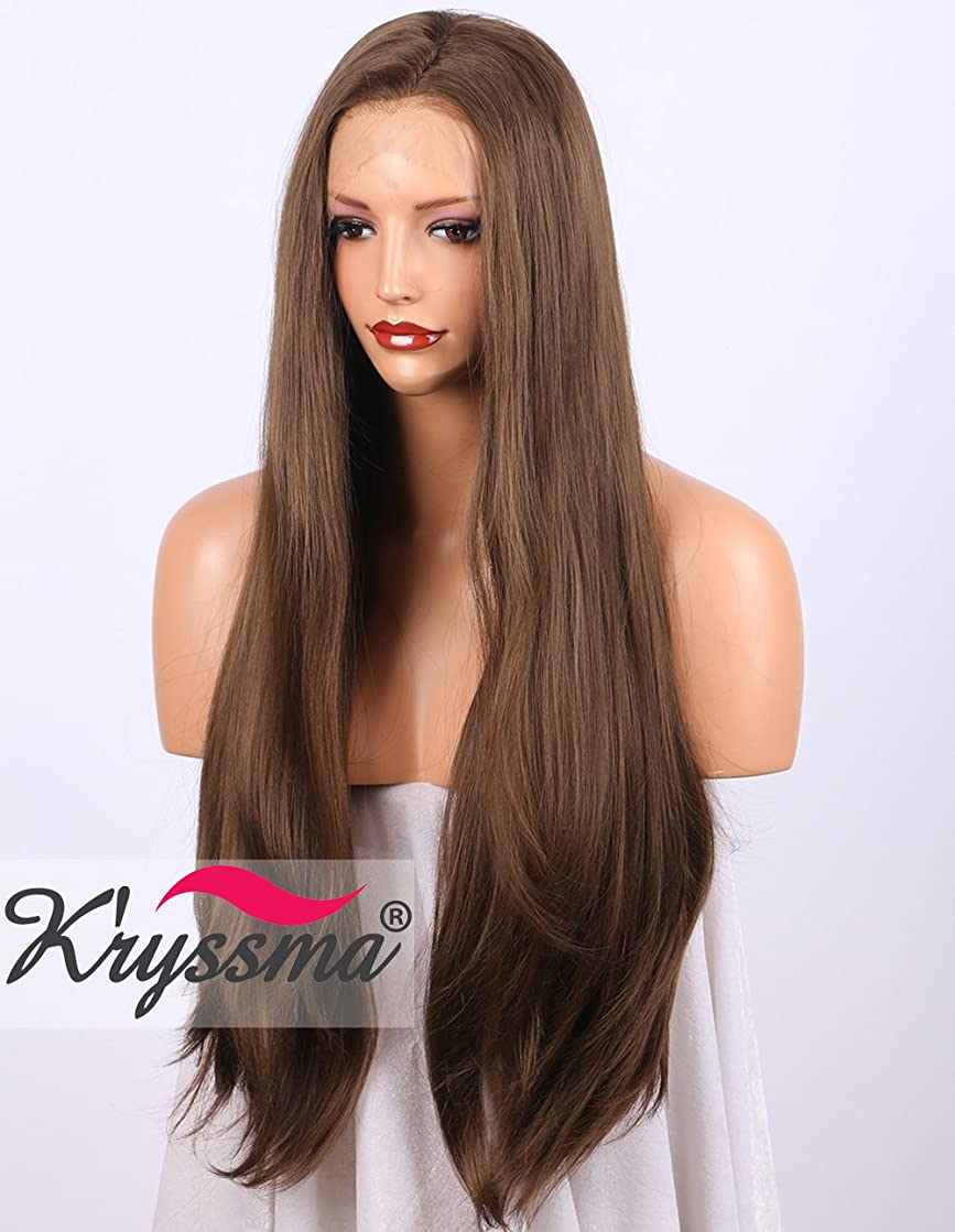 K'ryssma Brown Lace Front Wig Realistic Looking Glueless Long Natural Straight Synthetic Wigs for Women 20 inches Heat Resistant