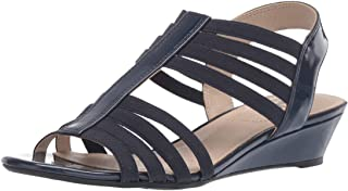 LifeStride Women's Yours Wedge Sandal, Navy, 6 W US
