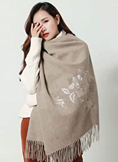HangErFeng Scarf Shawl Women Wool Hand Embroidered Warm Soft Luxurious Christmas Valentine Gift packaging