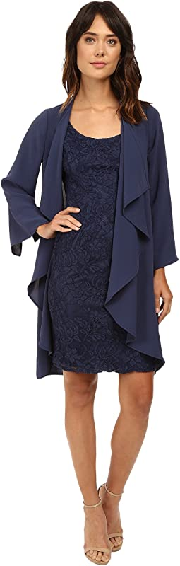 Draped Jacket w/ Scoop Lace Dress