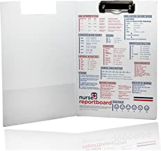 Nurse ReportBoard - Slim & Lightweight Professional Nursing Clipboard with Adult Reference Information. Ideal for Nurses and Students. RN, LPN,