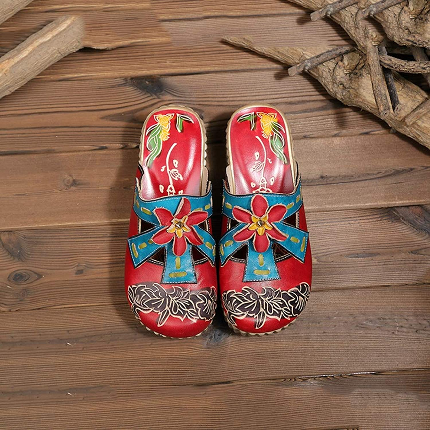 Leather Slipper,Women's colorful Backless Slippers Flowers Leather Vintage Boho Platform Flat Sandals,7.5MUS
