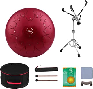 MIKZAL Professional Steel Tongue Drum 15 Notes 14 Inch Stand Included   Harmonic Instrument with Metallic Stand   Healing ...