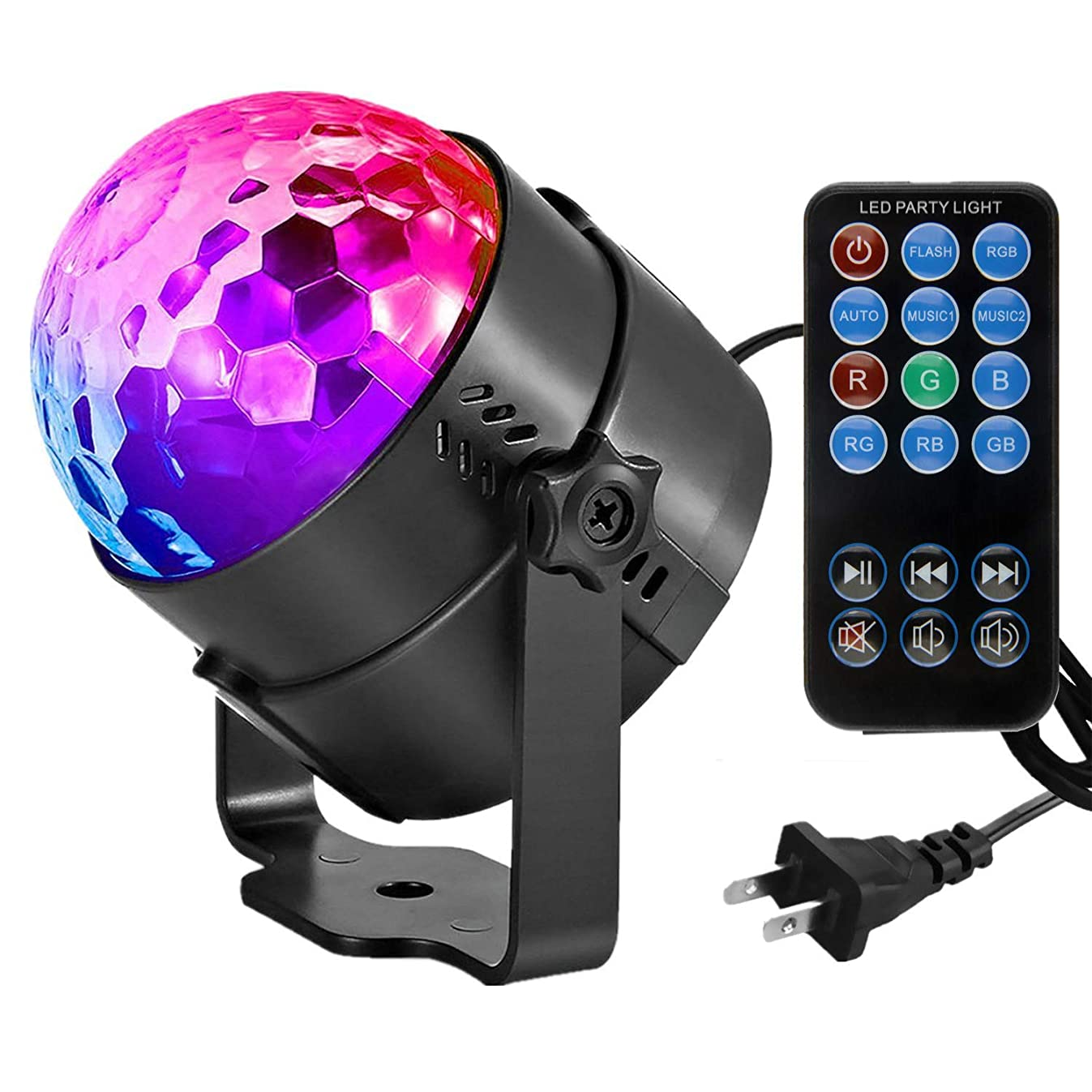 Led Sound Activated Party Lights with Remote Control DJ Lighting Disco Ball Strobe Club Lamp 7 Modes Stage Par Light Magic Mini Led Stage Lights for Christmas Home Room Dance Partiee Parties Birthday