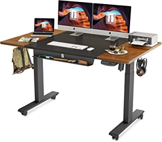 FEZIBO Height Adjustable Electric Standing Desk with Pencil Tray, 63 x 24 Inch Stand Up Table, Sit Stand Desk with Splice ...