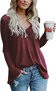 Inorin Womens Henley Sweater Fall Button Down Pullover Knit Long Sleeve Loose Fit Jumper Tops