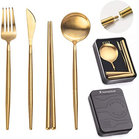 Gold Portable Stainless Steel Camping Flatware Travel Cutlery For Camping Fork Huemankind Reusable Utensils Set with Case Chopstick /& Pocket Sized Case Knife Picnic /& On-The-Go 4in1 Spoon