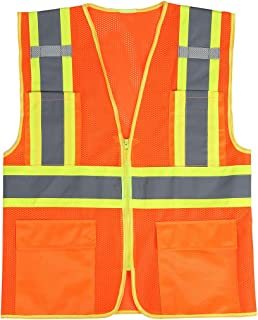 SULWZM High Visibility Reflective Safety Vest with Zipper and Pockets,Breathable Mesh Vest Orange,M