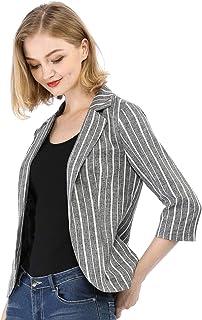 Allegra K Women`s Striped 3/4 Sleeves Open Front Notched Lapel Blazer