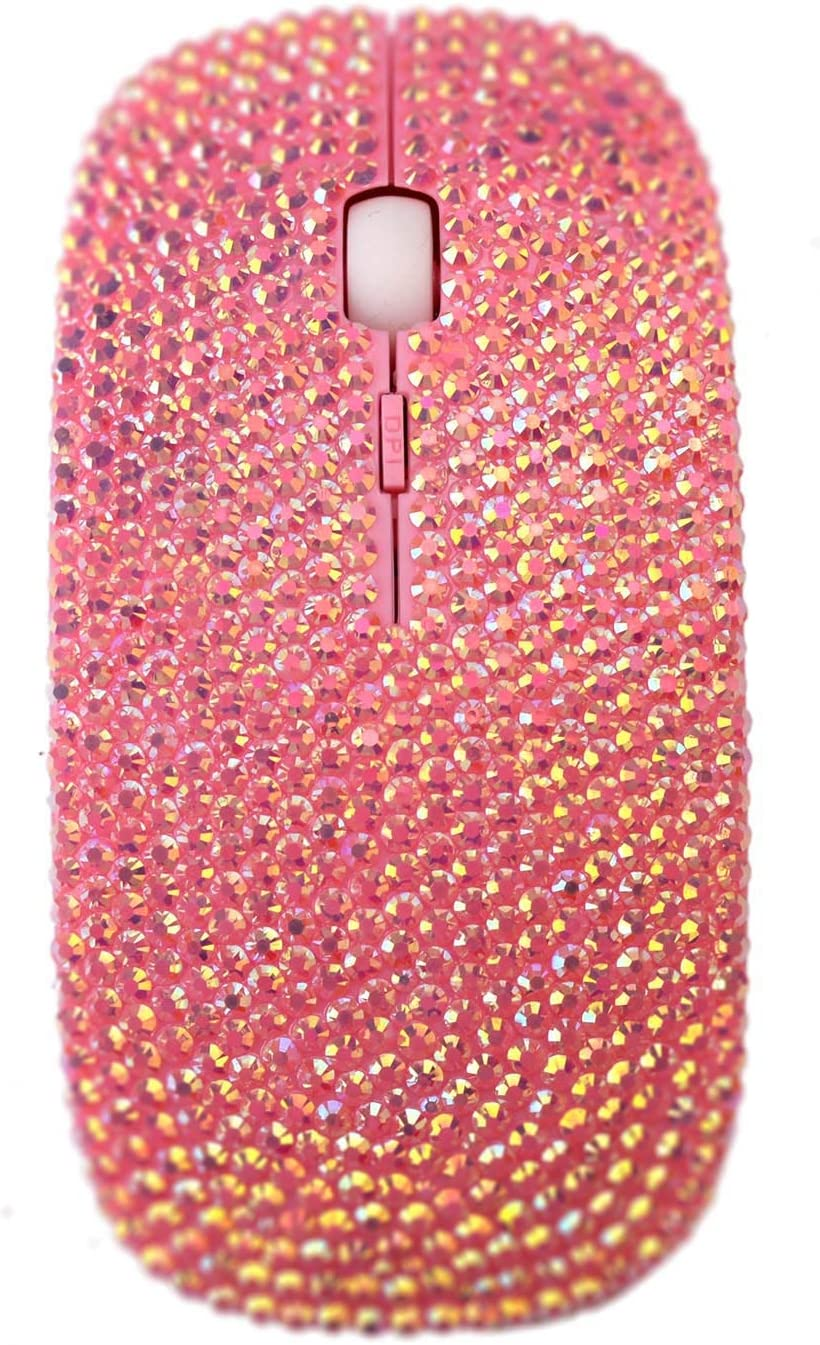 SA@ Bling Luxury Pink Colorful Crystal Rhinestone 2.4G Wireless Mouse For Laptop Computer, Cute Mouse For Girls