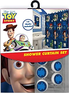 All New Fabric Shower Curtain Set Disney with 12 Matching Hooks (Toy Story)