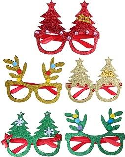 Amosfun 5Pcs Christmas Glasses Frame Xmas Glitter Eyeglasses Christmas Tree Hat Elk Eyeglasses Eyewears for Christmas Holiday Birthday Party Supplies Favors Goodie Bag fillers