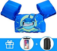 AmazeFan Kids Swim Life Jacket Vest for Swimming Pool, Swim Aid Floats with Waterproof Phone Pouch and Storage Bag, Suitable for 30-50 lbs Infant/Baby/Toddler, Children Puddle/Sea Beach Jumper
