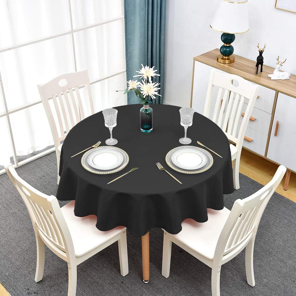 Buy Round Tablecloth Black   Waterproof and Wrinkle Resistant ...