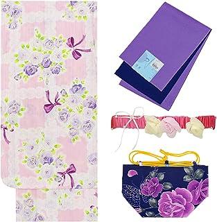 浴衣 ガールズ 4点セット 130cm 140cm 150cm ピンク紫 薔薇 リボン ラメ N3711