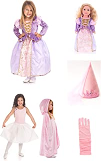 Little Adventures Rapunzel Princess Dress 6 Piece Costume Set & Matching Doll Dress (Large (Age 5-7))