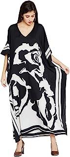 Black & White Kimono Maxi Dress Floral Long Kaftan Plus...