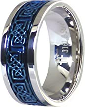Fantasy Forge Jewelry Electric Blue Celtic Spinner Ring Stainless Steel 8mm Comfort Fit Wedding Band Sizes 3-17