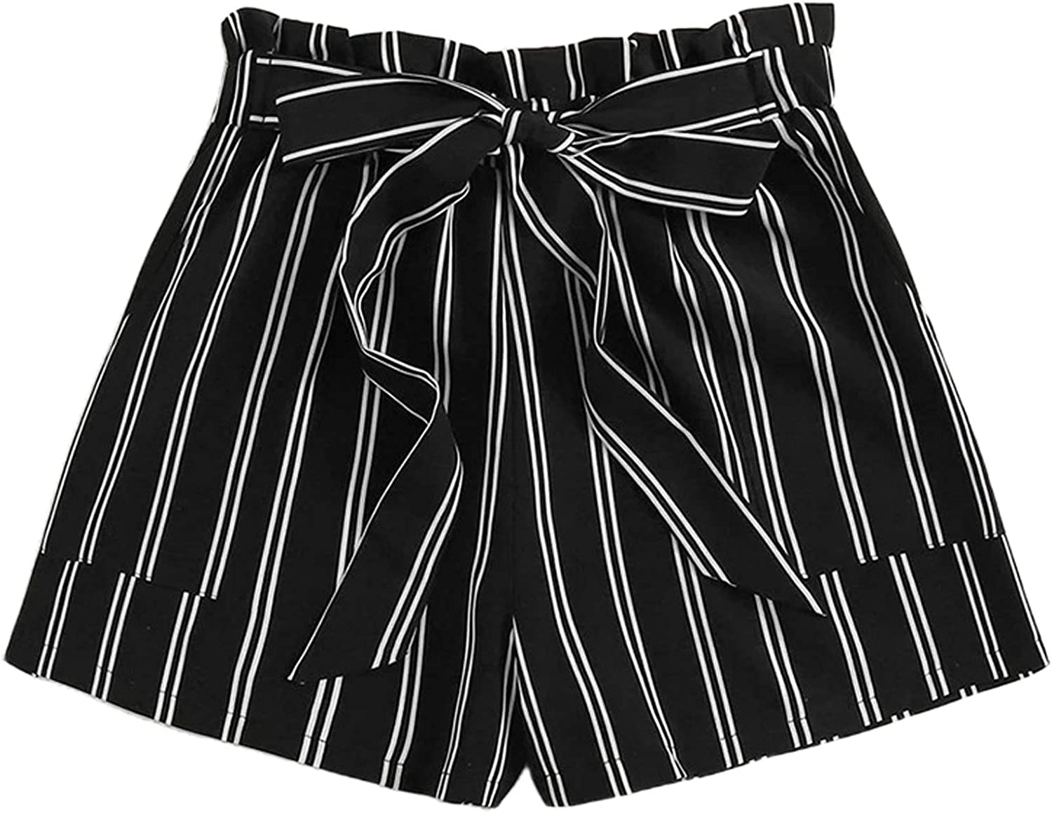 Remidoo Women's Summer Casual Frill Elastic Waist Striped Shorts with Pockets
