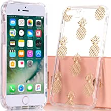 BAISRKE iPhone 7 Plus Case,iPhone 8 Plus Case with Pineapples Slim Shockproof Clear Pineapple Pattern Soft Flexible TPU Back Cover for iPhone 7 8 Plus - Gold Pineapple