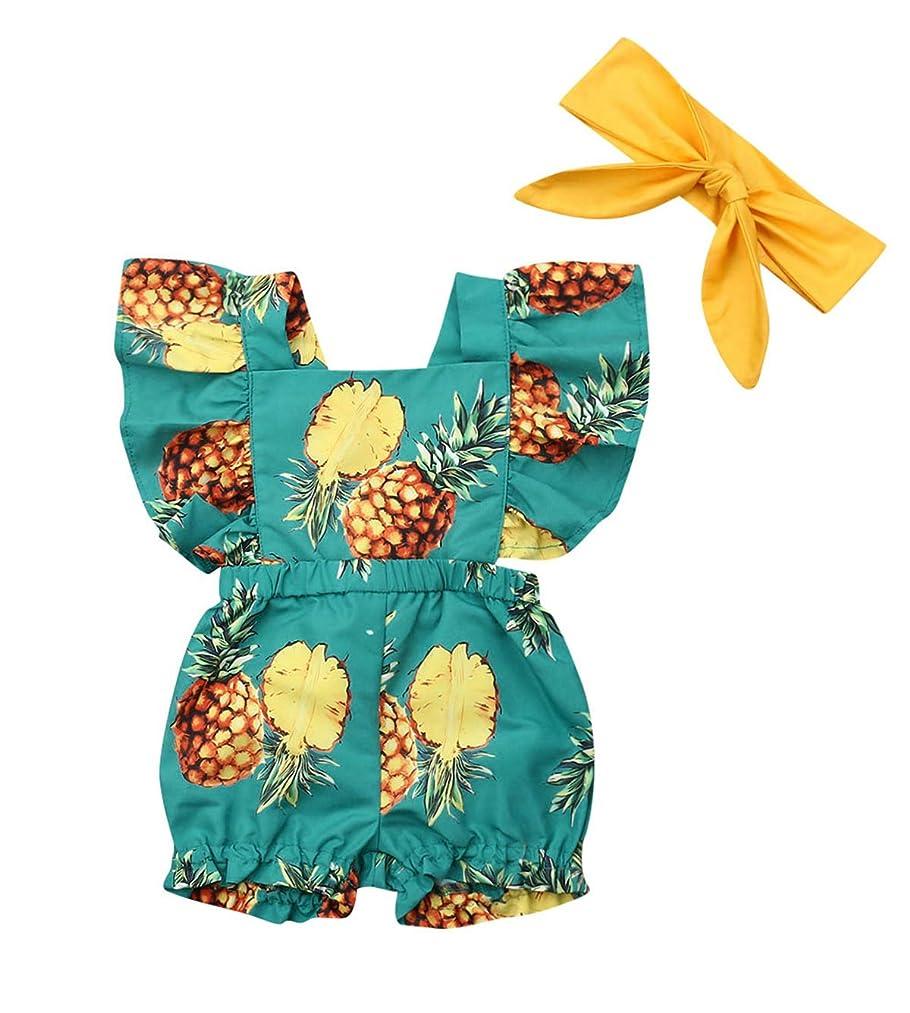 doublebabyjoy Baby Girl's 2-Piece Pineapple Print Outfits Newborn Girl Ruffles Sleeveless Backless Romper Headband