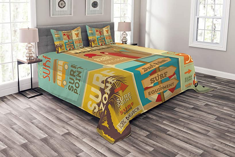 Lunarable Surf Bedspread Set Queen Size, Retro Posters Composition Summer Vacation Theme Hobby Water Sports California Beach, Decorative Quilted 3 Piece Coverlet Set with 2 Pillow Shams, Multicolor