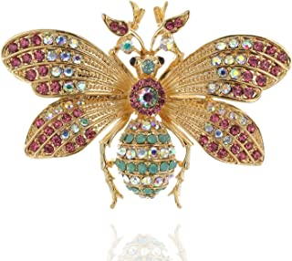 Queen Bee Brooch Fly Pin in A Metallic Base Embellished with Rhinstones