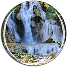 Weekino Laos Waterfall Luang Prabang Laos Fridge Magnet 3D Crystal Glass Tourist City Travel Souvenir Collection Gift Strong Refrigerator Sticker